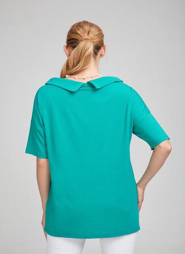 WHIP Design Düz Kayık Yaka Standart Boy 3/4 Kol Penye Bluz Turkuaz